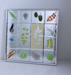 Tucson Leaves, fused glass wall piece by Diane C. Taylor
