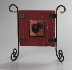 Barnyard Rooster, fused glass with copper mica, by Diane C. Taylor