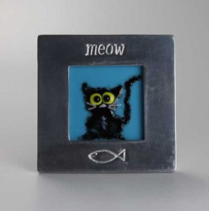 Felicity the Cat, fused glass by Diane C Taylor