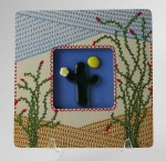 Spring in the Desert, fused glass by Diane C. Taylor with frame hand painted by Patty Lyons