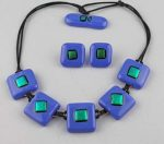 5-pc blue glass with green dichroic with earrings